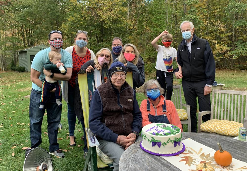 Guy E Conkey with his family in bradford NH for his Birthday.